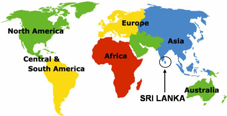 Sri Lanka World Map Sri Lanka on the World Map   INTERESTING SRI LANKA Sri Lanka World Map